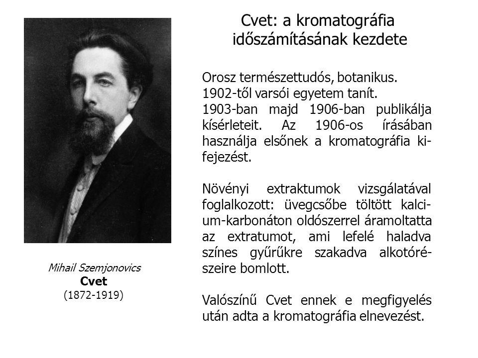 Mihail Szemjonovics Cvet (1872-1919) Cvet: a kromatográfia időszámításának kezdete Orosz természettudós, botanikus.