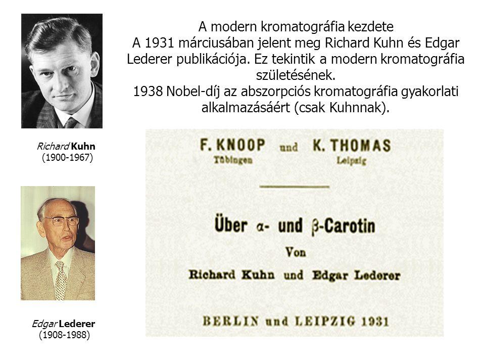 Edgar Lederer (1908-1988) Richard Kuhn (1900-1967) A modern kromatográfia kezdete A 1931 márciusában jelent meg Richard Kuhn és Edgar Lederer publikációja.
