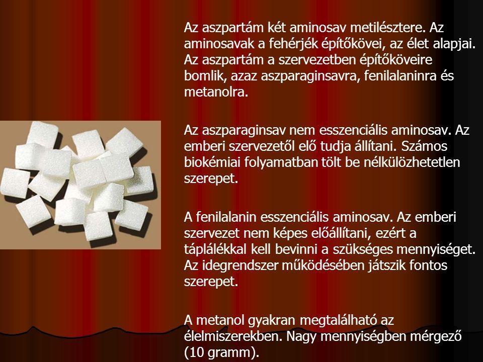 Az aszpartám két aminosav metilésztere. Az aminosavak a fehérjék építőkövei, az élet alapjai. Az aszpartám a szervezetben építőköveire bomlik, azaz as