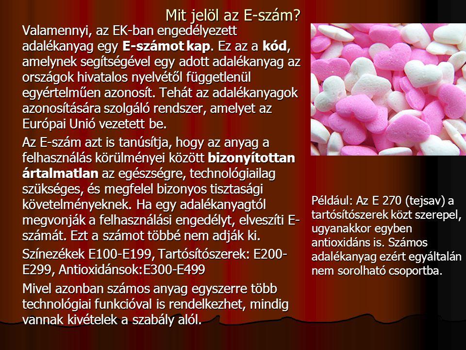 Források: Dr.Sohár Pálné, Dr. Rácz Endre: Őszintén és érthetően az adalékanyagokról Dr.