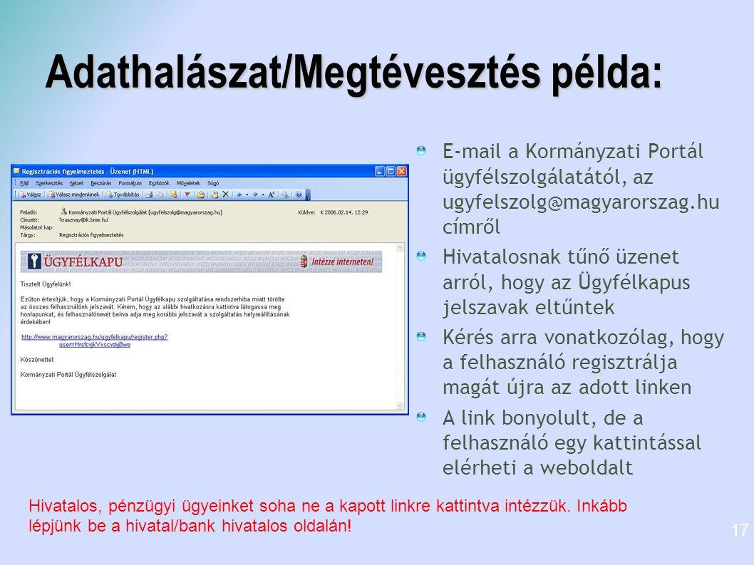Adathalászat/Megtévesztés példa: E-mail a Kormányzati Portál ügyfélszolgálatától, az ugyfelszolg@magyarorszag.hu címről Hivatalosnak tűnő üzenet arról