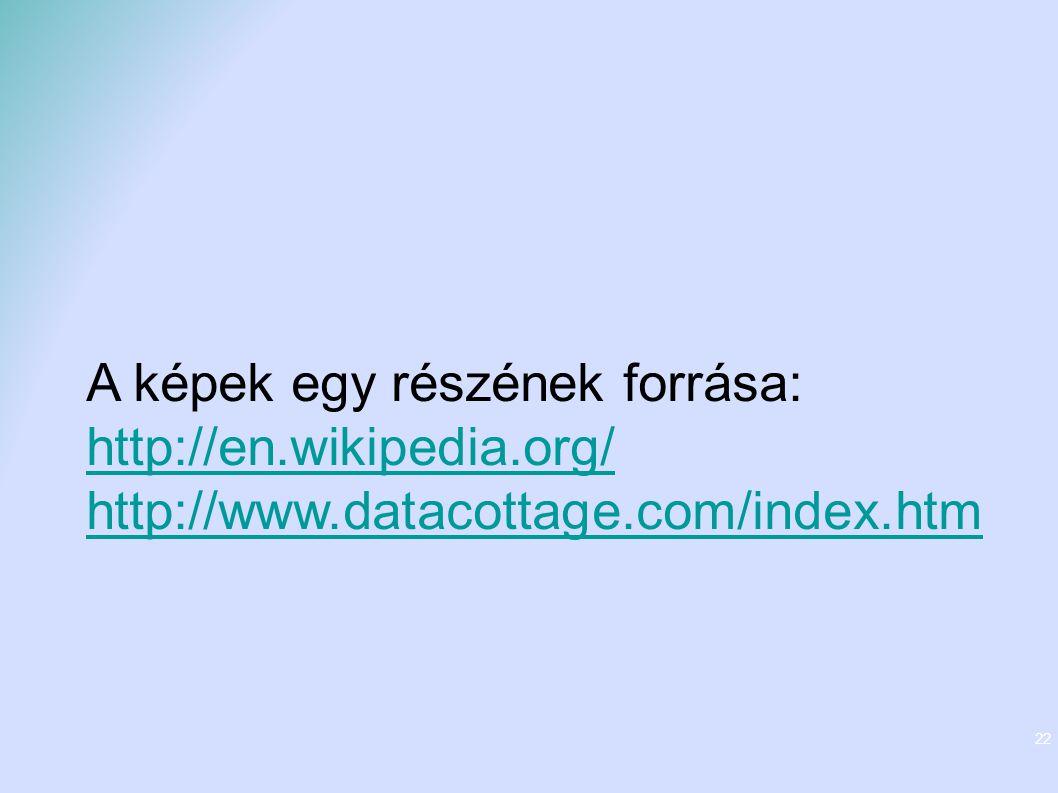 22 A képek egy részének forrása: http://en.wikipedia.org/ http://www.datacottage.com/index.htm