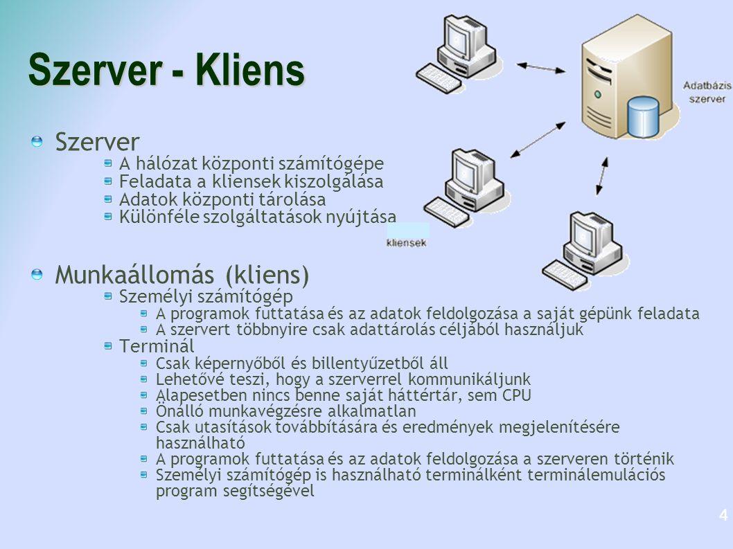 Szerver - Kliens Szerver A hálózat központi számítógépe Feladata a kliensek kiszolgálása Adatok központi tárolása Különféle szolgáltatások nyújtása Mu