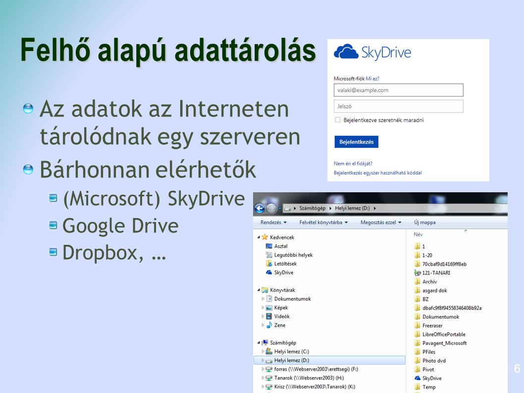 Felhő alapú adattárolás Az adatok az Interneten tárolódnak egy szerveren Bárhonnan elérhetők (Microsoft) SkyDrive Google Drive Dropbox, … 6