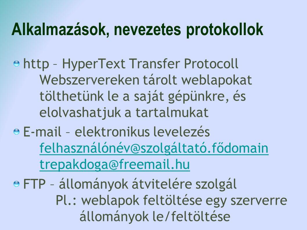 Alkalmazások, nevezetes protokollok http – HyperText Transfer Protocoll Webszervereken tárolt weblapokat tölthetünk le a saját gépünkre, és elolvashat
