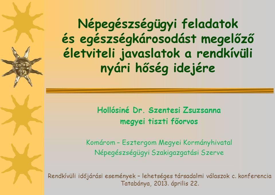 Népegészségügyi feladatok és egészségkárosodást megelőző életviteli javaslatok a rendkívüli nyári hőség idejére Hollósiné Dr. Szentesi Zsuzsanna megye