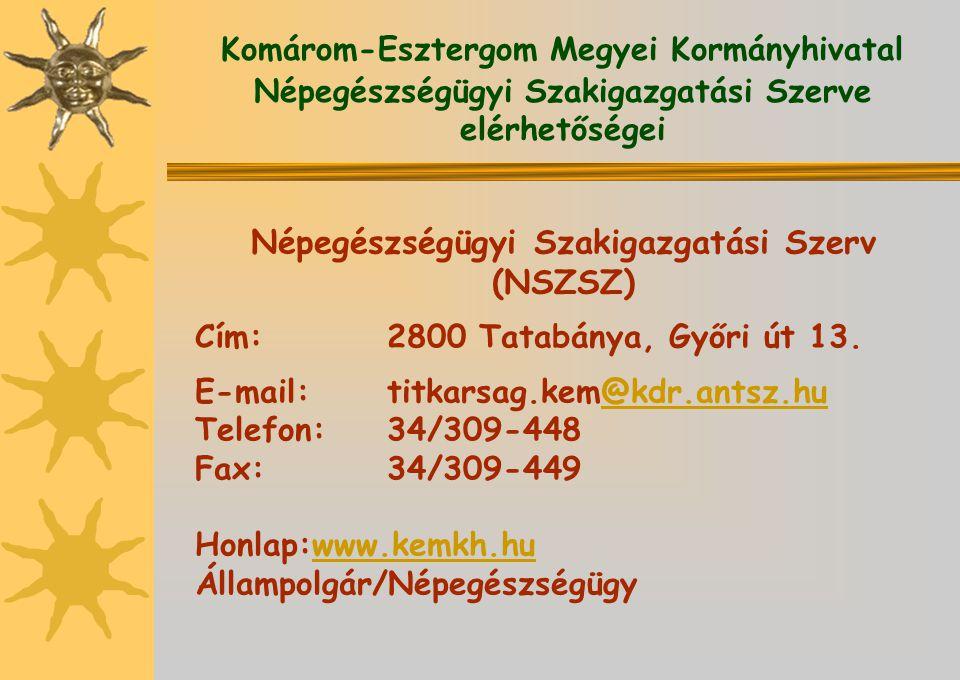 Komárom-Esztergom Megyei Kormányhivatal Népegészségügyi Szakigazgatási Szerve elérhetőségei Népegészségügyi Szakigazgatási Szerv (NSZSZ) Cím:2800 Tata
