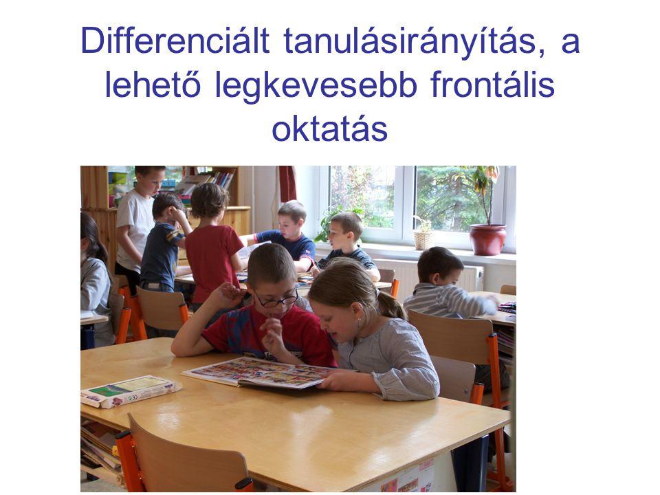 Differenciált tanulási helyzetek Kooperatív tanulás (verseny helyett együttműködés) Differenciált rétegmunka Individualizált tanulás Projekt