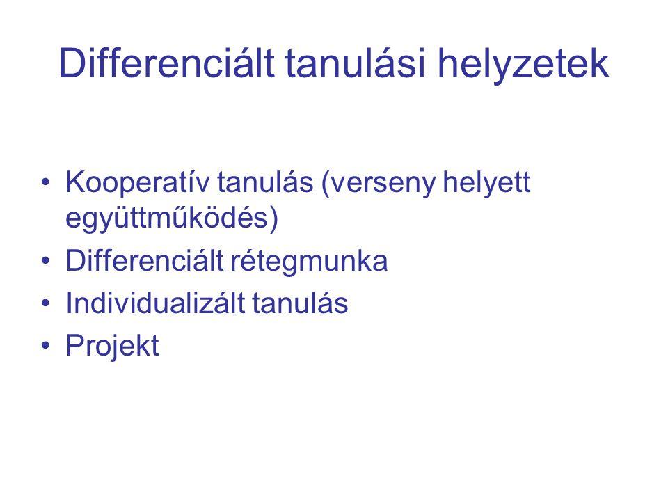 Differenciált tananyag elrendezés