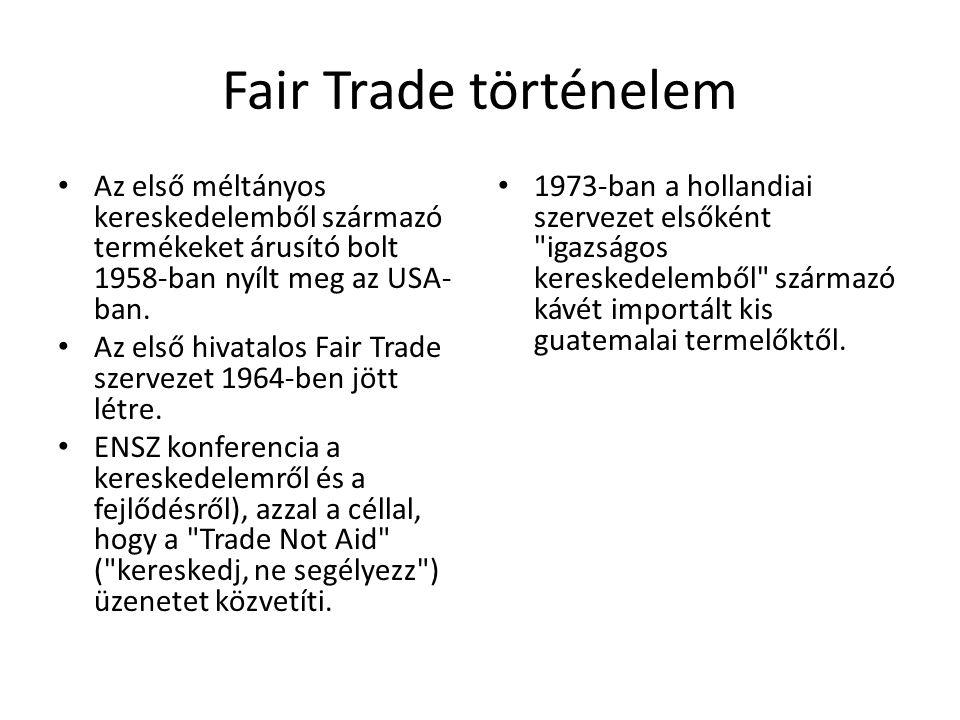 Fair Trade történelem Az első méltányos kereskedelemből származó termékeket árusító bolt 1958-ban nyílt meg az USA- ban. Az első hivatalos Fair Trade