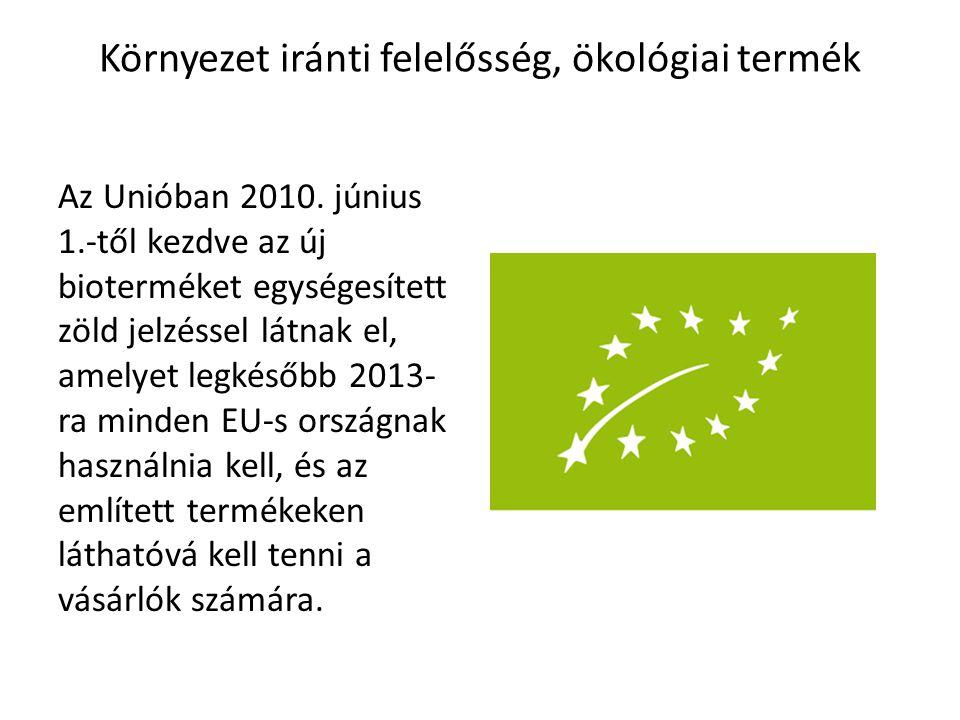 Környezet iránti felelősség, ökológiai termék Az Unióban 2010. június 1.-től kezdve az új bioterméket egységesített zöld jelzéssel látnak el, amelyet