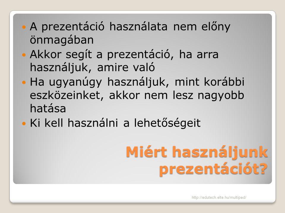 Miért használjunk prezentációt? A prezentáció használata nem előny önmagában Akkor segít a prezentáció, ha arra használjuk, amire való Ha ugyanúgy has