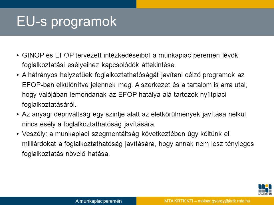 EU-s programok GINOP és EFOP tervezett intézkedéseiből a munkapiac peremén lévők foglalkoztatási esélyeihez kapcsolódók áttekintése. A hátrányos helyz