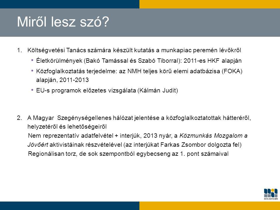 Miről lesz szó? 1.Költségvetési Tanács számára készült kutatás a munkapiac peremén lévőkről Életkörülmények (Bakó Tamással és Szabó Tiborral): 2011-es