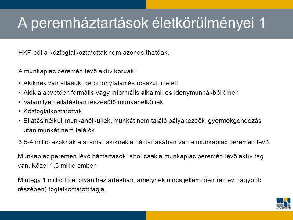 A peremháztartások életkörülményei 1 HKF-ből a közfoglalkoztatottak nem azonosíthatóak. A munkapiac peremén lévő aktív korúak: Akiknek van állásuk, de
