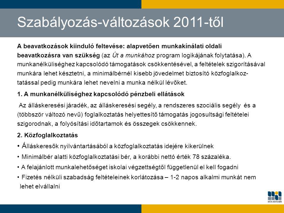 Szabályozás-változások 2011-től A beavatkozások kiinduló feltevése: alapvetően munkakínálati oldali beavatkozásra van szükség (az Út a munkához progra