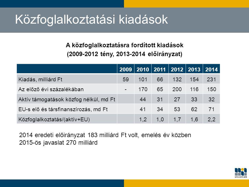 A közfoglalkoztatásra fordított kiadások (2009-2012 tény, 2013-2014 előirányzat) Közfoglalkoztatási kiadások 200920102011201220132014 Kiadás, milliárd