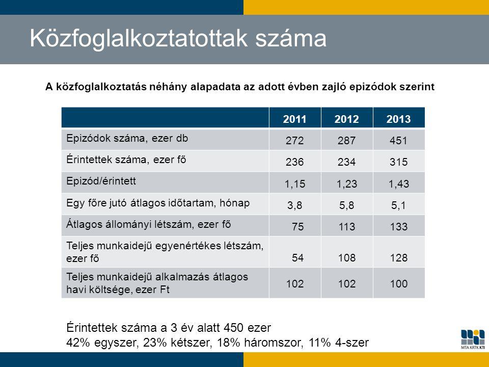 Közfoglalkoztatottak száma 201120122013 Epizódok száma, ezer db 272287451 Érintettek száma, ezer fő 236234315 Epizód/érintett 1,151,231,43 Egy főre ju