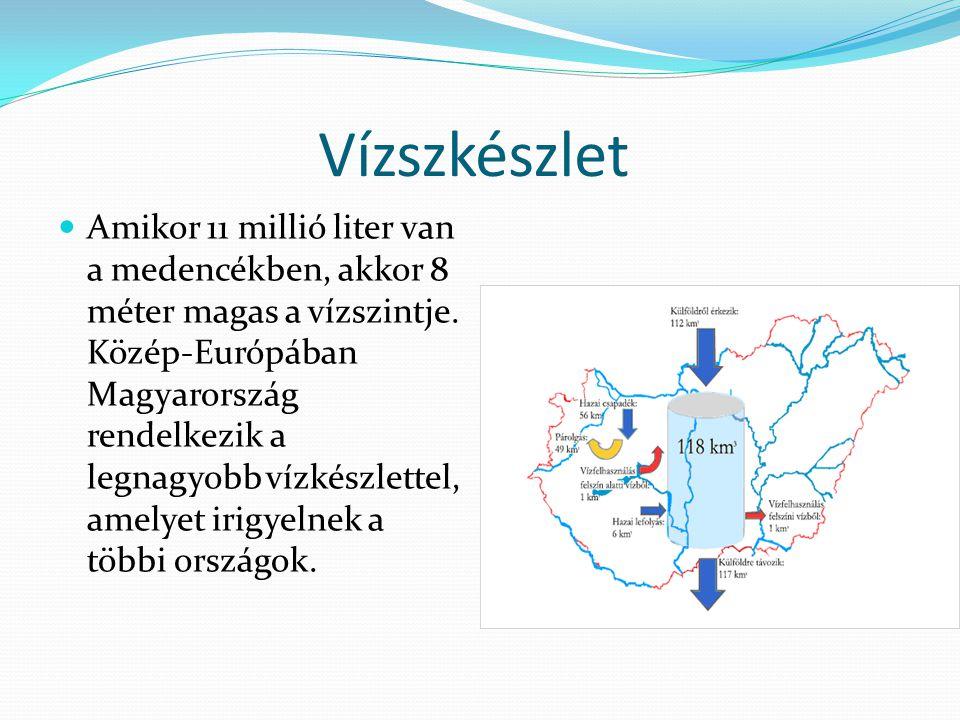 Vízszkészlet Amikor 11 millió liter van a medencékben, akkor 8 méter magas a vízszintje.
