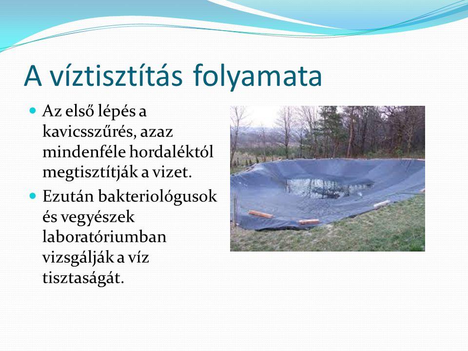 A víztisztítás folyamata Az első lépés a kavicsszűrés, azaz mindenféle hordaléktól megtisztítják a vizet.