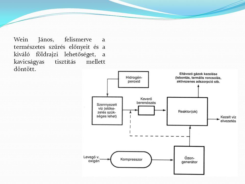 Wein János, felismerve a természetes szűrés előnyeit és a kiváló földrajzi lehetőséget, a kavicságyas tisztítás mellett döntött.