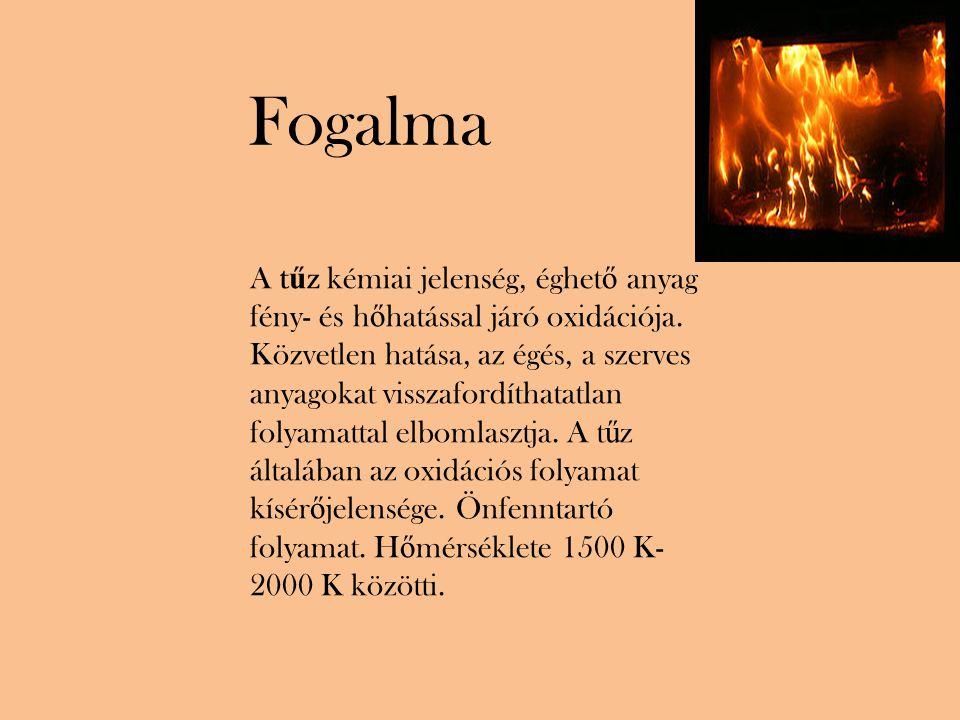 A t ű z kémiai jelenség, éghet ő anyag fény- és h ő hatással járó oxidációja.