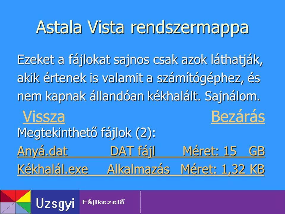 Astala Vista rendszermappa Ezeket a fájlokat sajnos csak azok láthatják, akik értenek is valamit a számítógéphez, és nem kapnak állandóan kékhalált. S