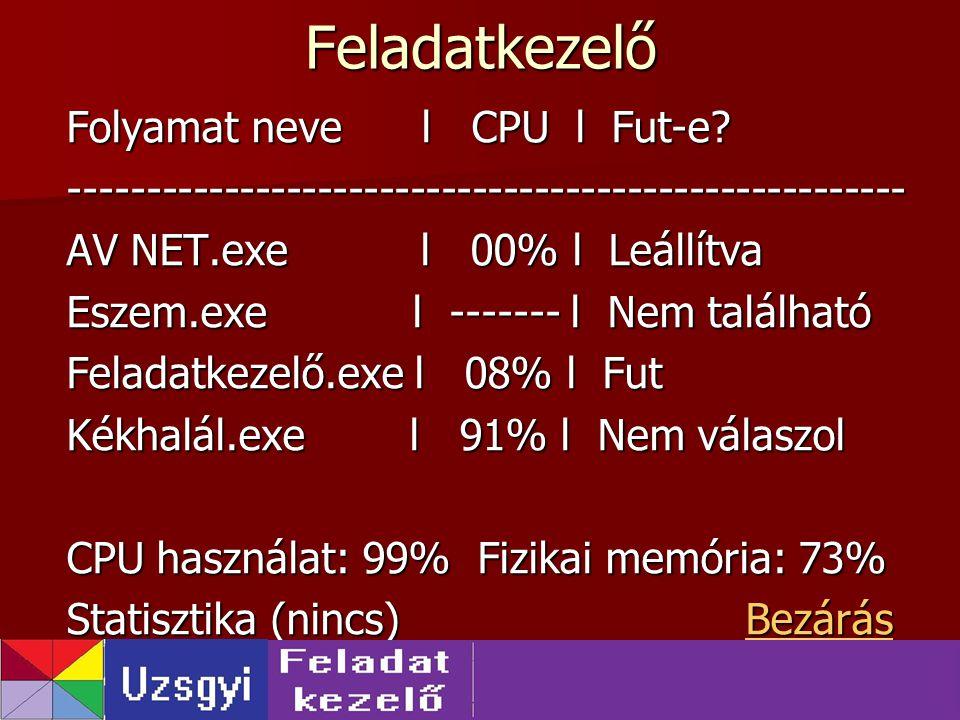 Feladatkezelő Folyamat neve l CPU l Fut-e? ------------------------------------------------------ AV NET.exe l 00% l Leállítva Eszem.exe l ------- l N