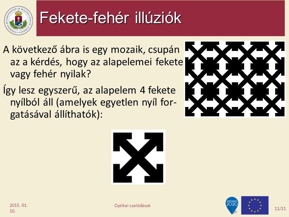 Fekete-fehér illúziók 2015. 01. 10. A következő ábra is egy mozaik, csupán az a kérdés, hogy az alapelemei fekete vagy fehér nyilak? Így lesz egyszerű