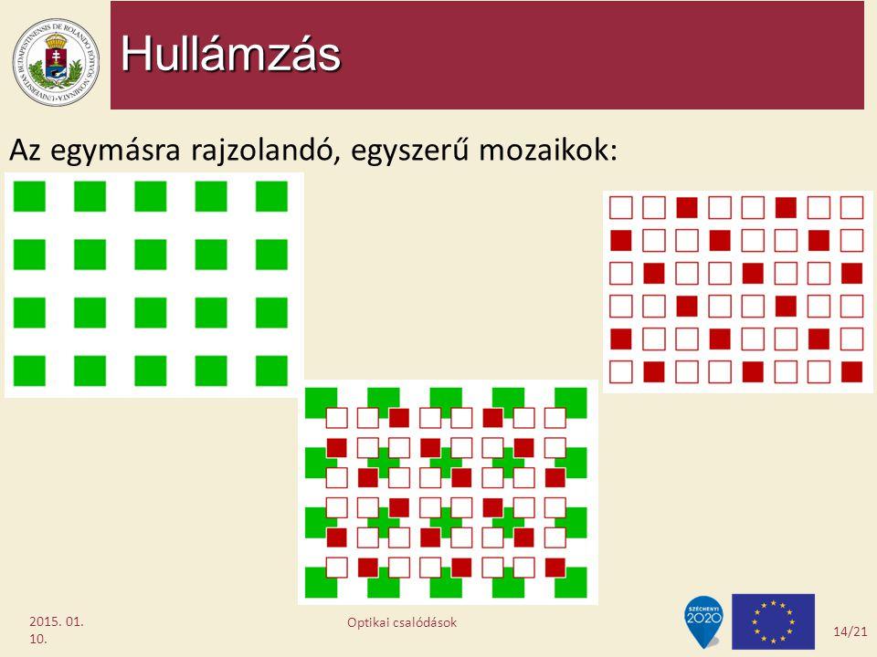 Hullámzás 2015. 01. 10. Az egymásra rajzolandó, egyszerű mozaikok: 14/21 Optikai csalódások