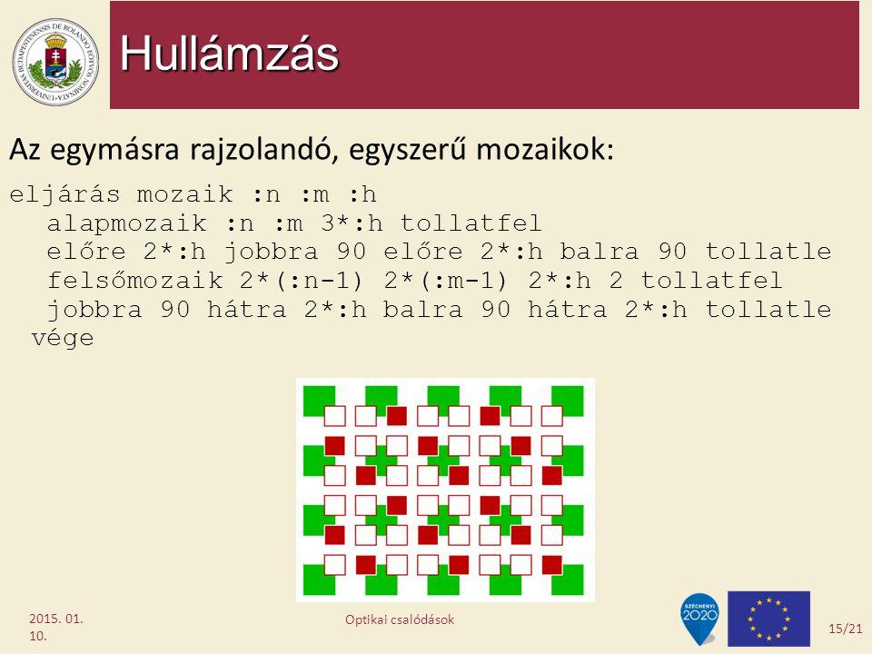 Hullámzás 2015. 01. 10. Az egymásra rajzolandó, egyszerű mozaikok: eljárás mozaik :n :m :h alapmozaik :n :m 3*:h tollatfel előre 2*:h jobbra 90 előre