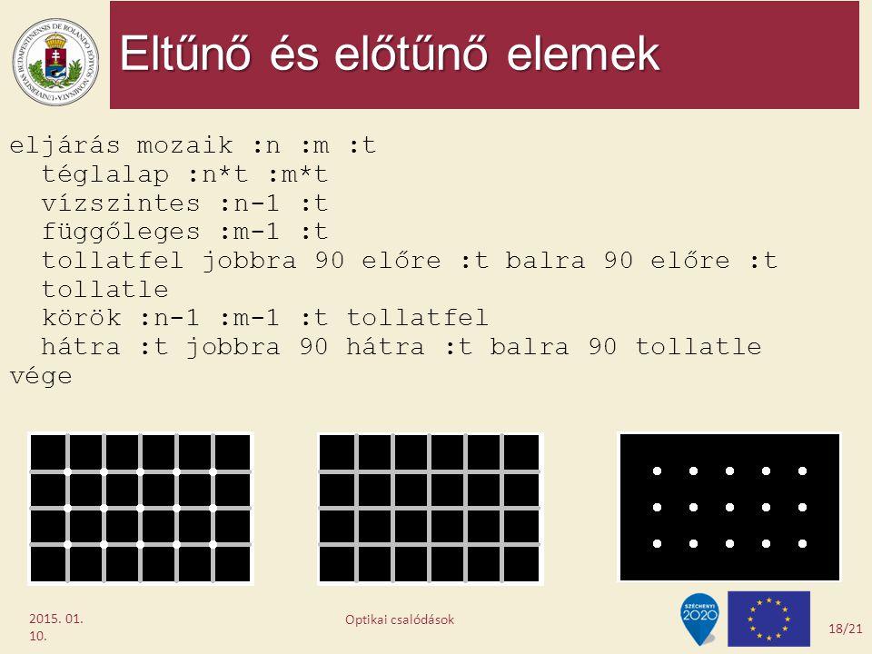 Eltűnő és előtűnő elemek 2015. 01. 10. eljárás mozaik :n :m :t téglalap :n*t :m*t vízszintes :n-1 :t függőleges :m-1 :t tollatfel jobbra 90 előre :t b
