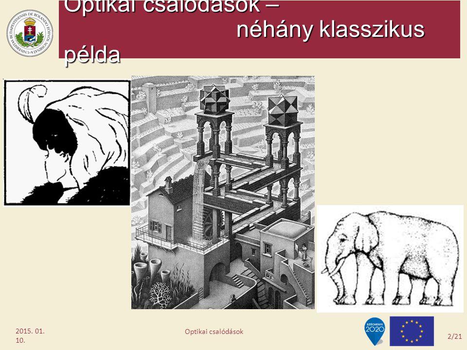 Optikai csalódások – néhány klasszikus példa 2015. 01. 10. 2/21 Optikai csalódások