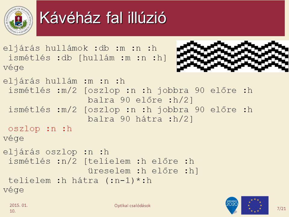 Kávéház fal illúzió 2015. 01. 10. eljárás hullámok :db :m :n :h ismétlés :db [hullám :m :n :h] vége eljárás hullám :m :n :h ismétlés :m/2 [oszlop :n :