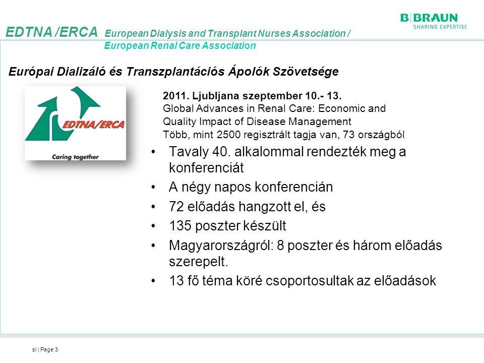 sl   Page4 EDTNA-ERCA projektek 1.Go green in dialysis /Környezetvédelem a dialízisben/-eredmények ismertetése 2.Guideline on vascular Access Cannulation and care /fisztulapunkciót és ápolást kidolgozó irányelv– projekt frissítése 3.Vénás tű kimozdulás felmérés Dublin 2010, 1 fejezet: Gyakoriság és gyakorlati minták 4.IQD&Clinical Guidelines for Dialysis /Multidiszciplináris klinikai irányelvek a dialízisben– új projekt : jelentősége: a dializált betegek többsége egyéb társbetegségekben szenved, nagyobb a kereslet a személyre szabott kezelésekre, kezelt betegek száma egyre emelkedik/