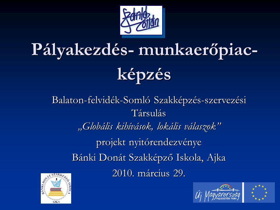 """Pályakezdés- munkaerőpiac- képzés Balaton-felvidék-Somló Szakképzés-szervezési Társulás """"Globális kihívások, lokális válaszok projekt nyitórendezvénye Bánki Donát Szakképző Iskola, Ajka 2010."""