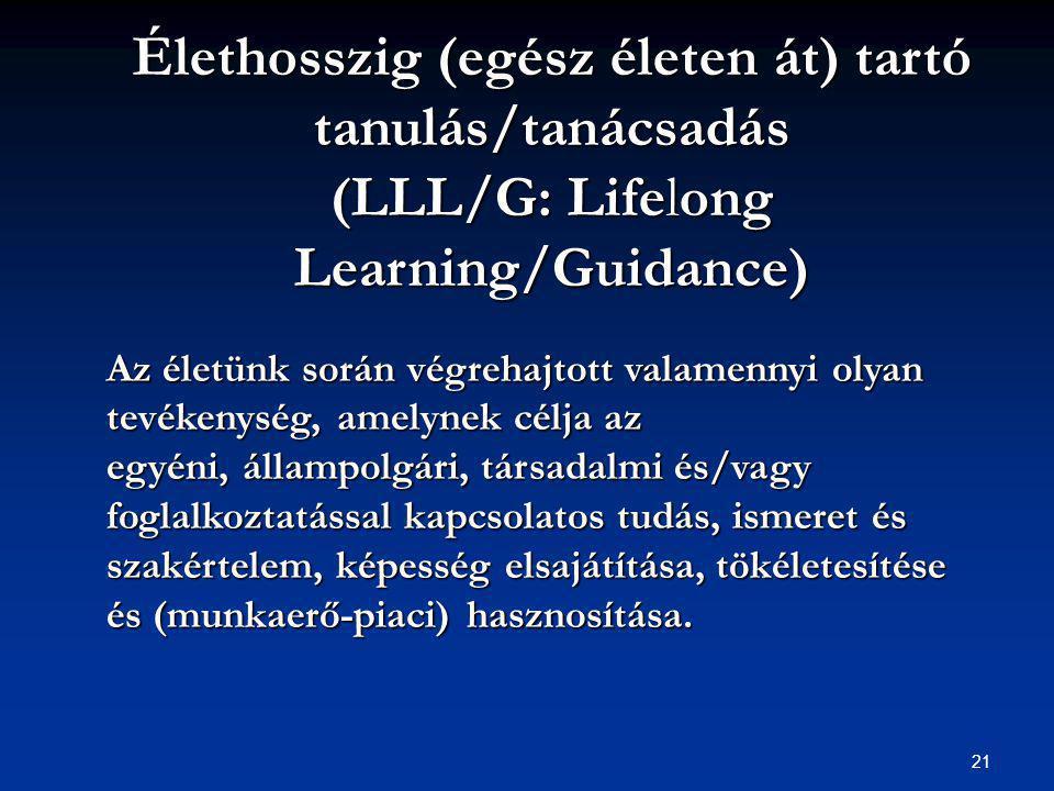 21 Élethosszig (egész életen át) tartó tanulás/tanácsadás (LLL/G: Lifelong Learning/Guidance) Az életünk során végrehajtott valamennyi olyan tevékenység, amelynek célja az egyéni, állampolgári, társadalmi és/vagy foglalkoztatással kapcsolatos tudás, ismeret és szakértelem, képesség elsajátítása, tökéletesítése és (munkaerő-piaci) hasznosítása.