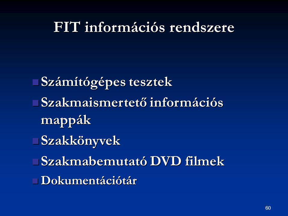 60 FIT információs rendszere Számítógépes tesztek Számítógépes tesztek Szakmaismertető információs mappák Szakmaismertető információs mappák Szakkönyvek Szakkönyvek Szakmabemutató DVD filmek Szakmabemutató DVD filmek Dokumentációtár Dokumentációtár
