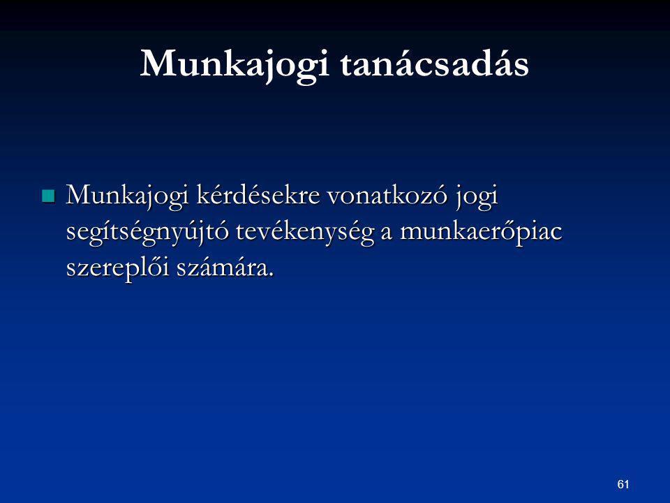 61 Munkajogi tanácsadás Munkajogi kérdésekre vonatkozó jogi segítségnyújtó tevékenység a munkaerőpiac szereplői számára.