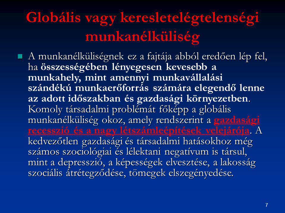 7 Globális vagy keresletelégtelenségi munkanélküliség A munkanélküliségnek ez a fajtája abból eredően lép fel, ha.