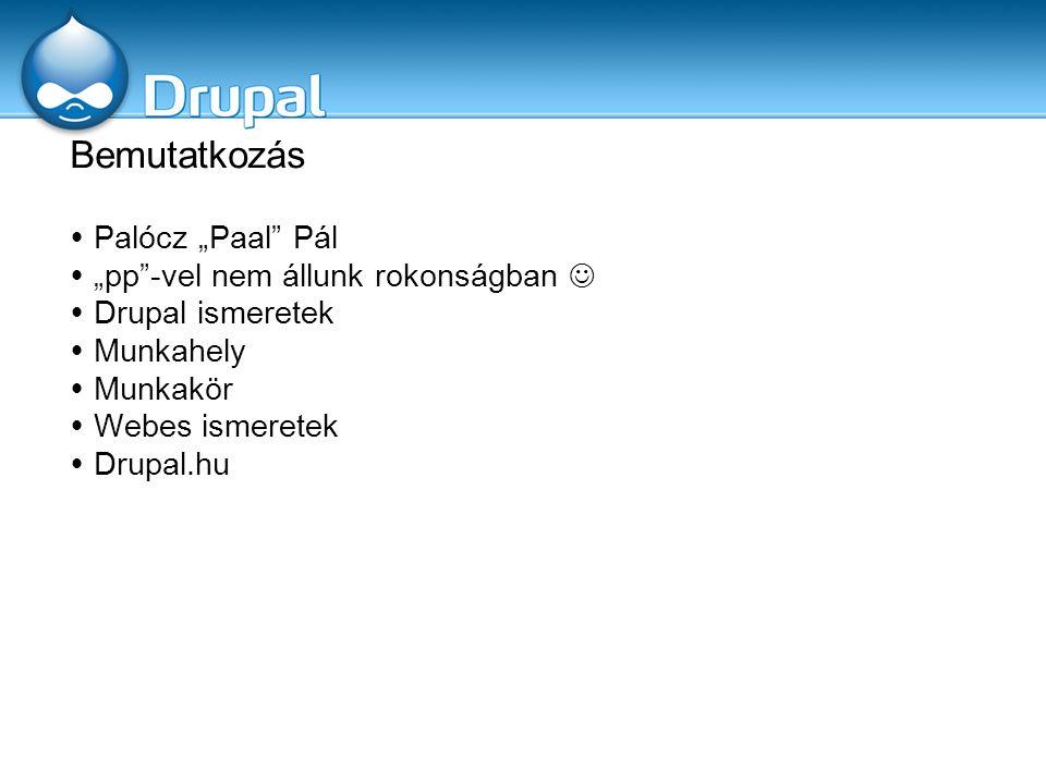 """Bemutatkozás  Palócz """"Paal"""" Pál  """"pp""""-vel nem állunk rokonságban  Drupal ismeretek  Munkahely  Munkakör  Webes ismeretek  Drupal.hu"""