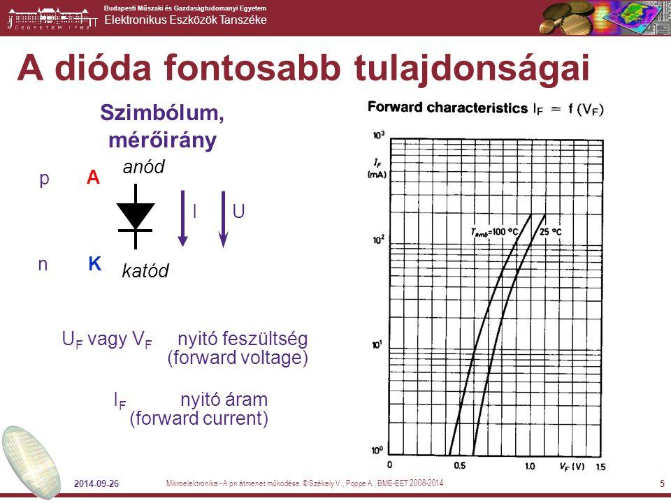 Budapesti Műszaki és Gazdaságtudomanyi Egyetem Elektronikus Eszközök Tanszéke 2014-09-26 5 A dióda fontosabb tulajdonságai Szimbólum, mérőirány UI A K