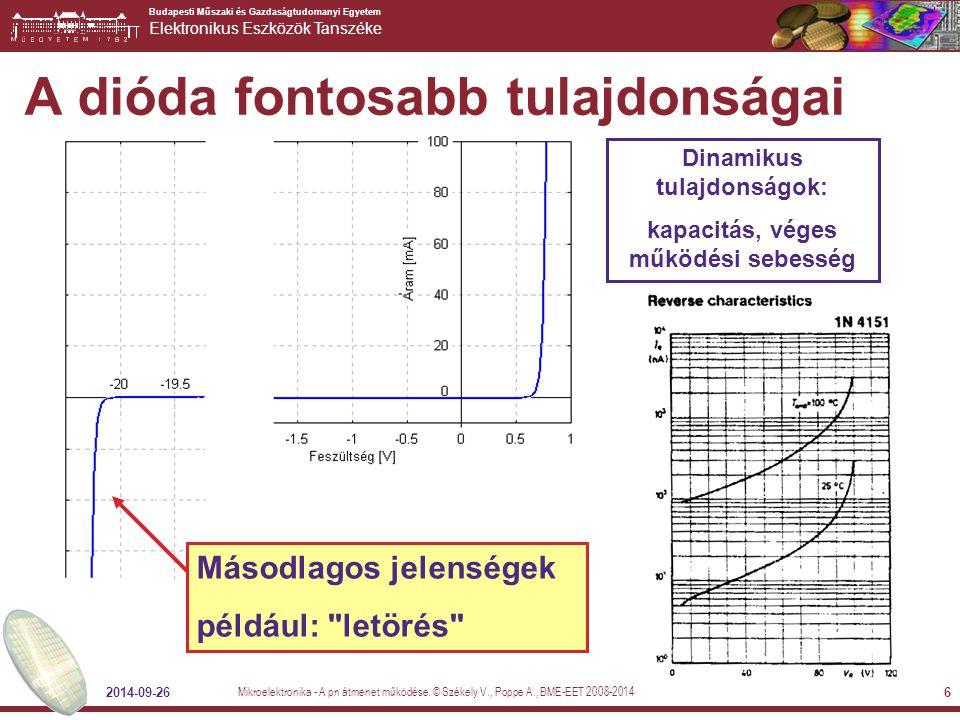 Budapesti Műszaki és Gazdaságtudomanyi Egyetem Elektronikus Eszközök Tanszéke 2014-09-26 6 A dióda fontosabb tulajdonságai Dinamikus tulajdonságok: ka
