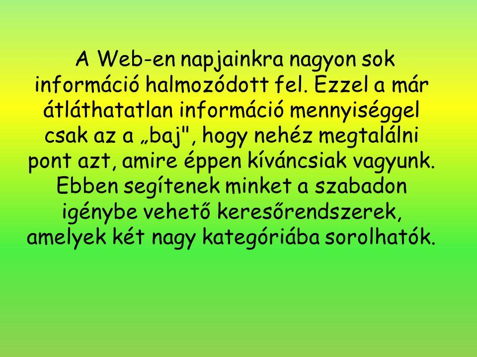"""A Web-en napjainkra nagyon sok információ halmozódott fel. Ezzel a már átláthatatlan információ mennyiséggel csak az a """"baj"""