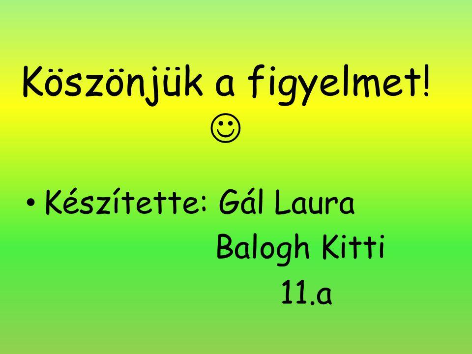 Köszönjük a figyelmet! Készítette: Gál Laura Balogh Kitti 11.a