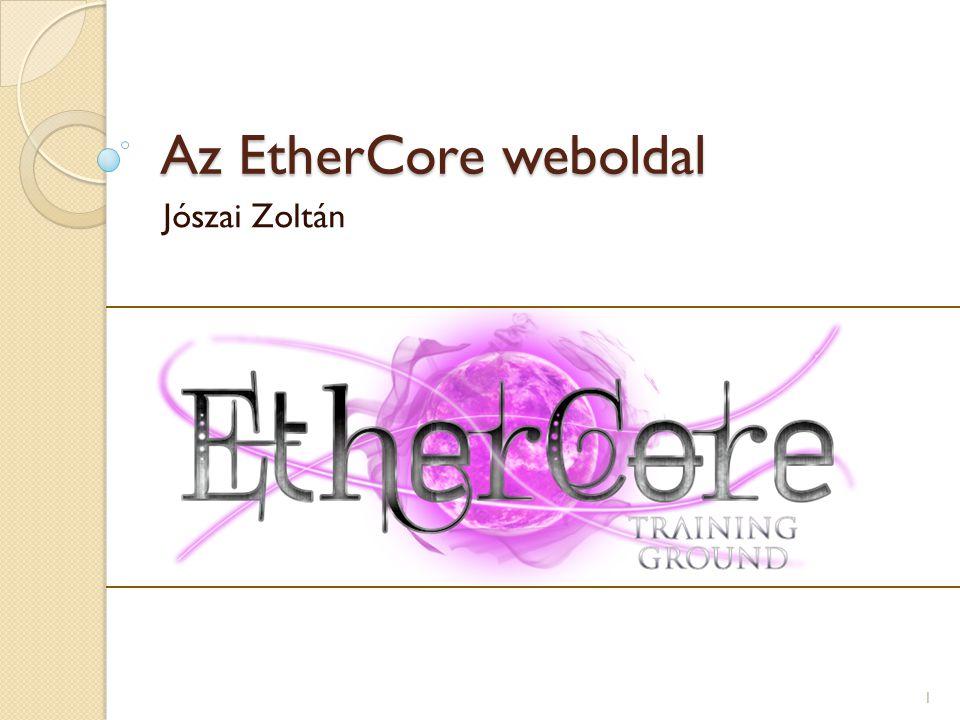 Az EtherCore weboldal Jószai Zoltán 1