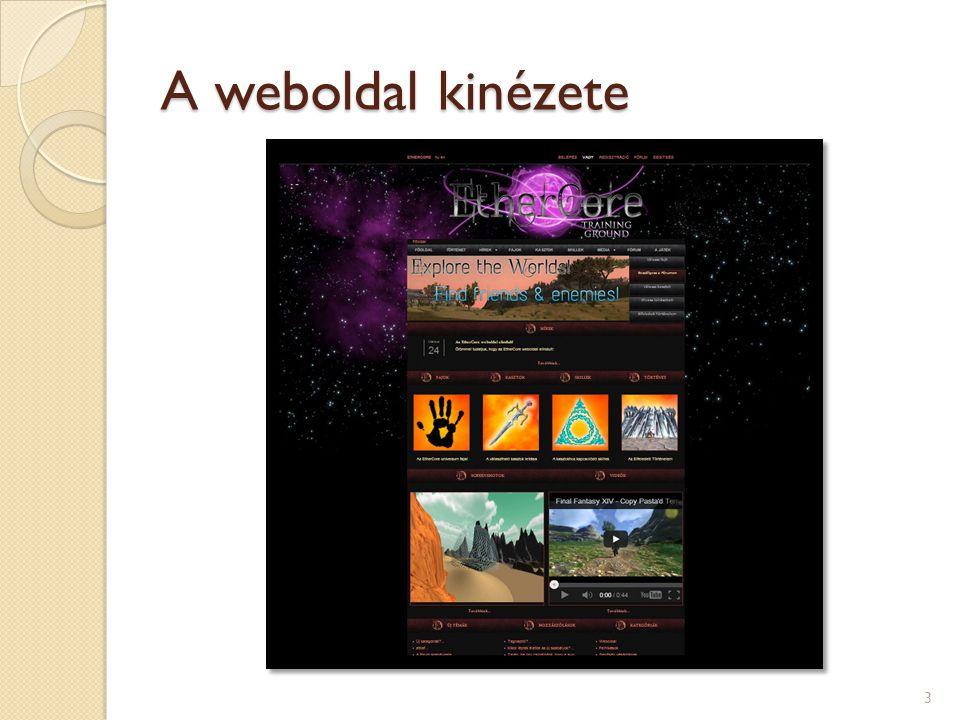 A weboldal kinézete 3