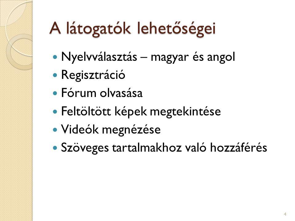 A látogatók lehetőségei Nyelvválasztás – magyar és angol Regisztráció Fórum olvasása Feltöltött képek megtekintése Videók megnézése Szöveges tartalmak