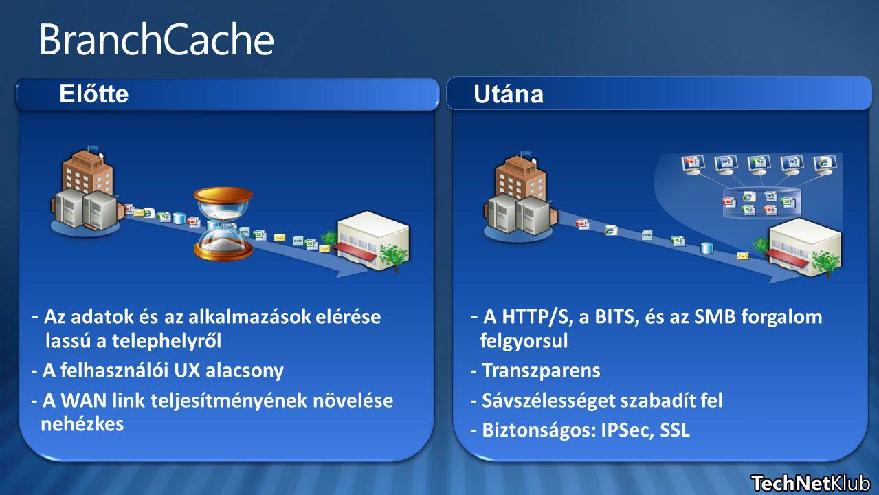 Központi Tárolás a telephelyi szerverenTárolás a telephelyi szerveren - A tárolás illetve az elérés hatásfoka jóval nagyobb - Összetettebb beállítás - A tárolás illetve az elérés hatásfoka jóval nagyobb - Összetettebb beállítás Budapest Csajágröcsöge - Szerver nélküli telephelyekre - Egyszerű engedélyezés (netsh / Csoportházirend) - Szerver nélküli telephelyekre - Egyszerű engedélyezés (netsh / Csoportházirend) Elosztott Tárolás a kliensekenTárolás a klienseken Szeged