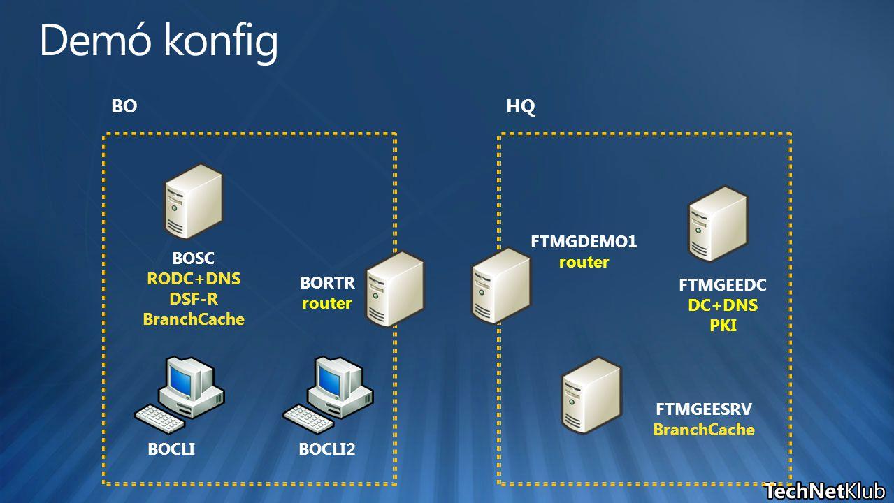 FTMGEEDC DC+DNS PKI FTMGEESRV BranchCache BOSC RODC+DNS DSF-R BranchCache BOCLIBOCLI2 HQBO BORTR router FTMGDEMO1 router
